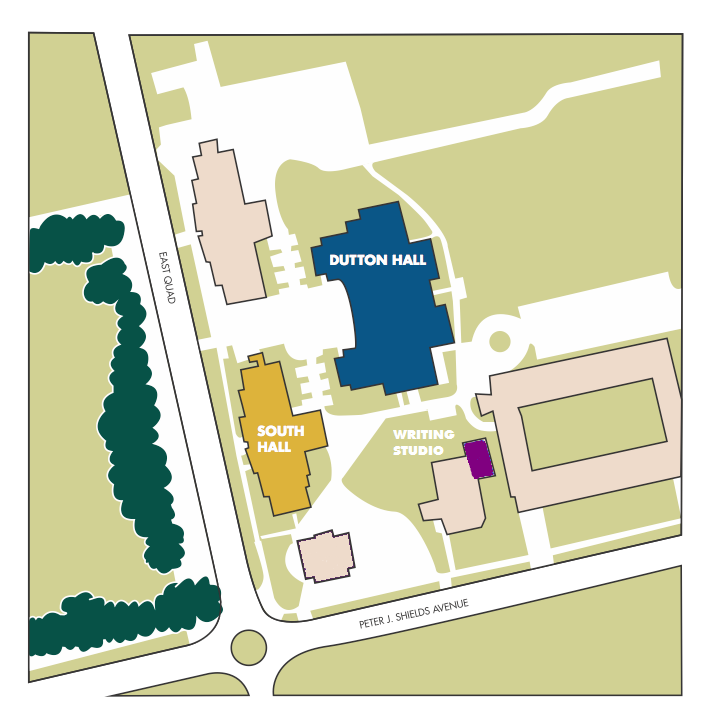 Map of Dutton, South Hall, and EOP