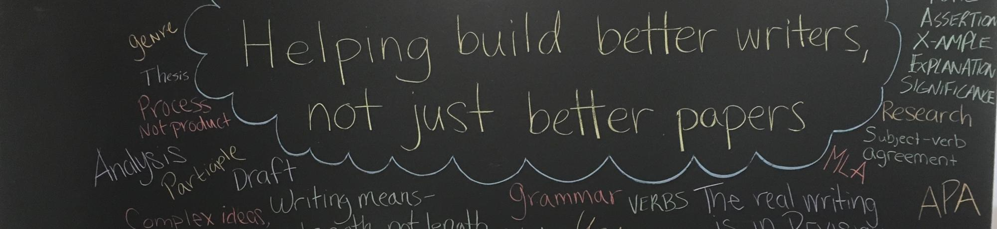 Chalkboard with our motto: Helping build better writers, not just better papers