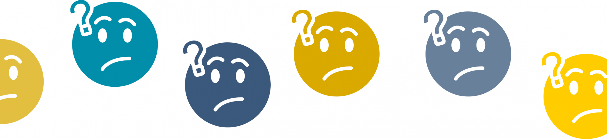 a line of face icons with question marks on their heads